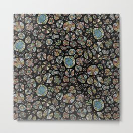 Barca Dots Pattern brown/grey/black Metal Print