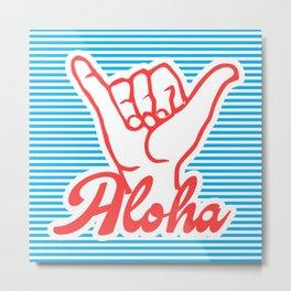 Aloha, Shaka Hand, blue version, summer poster, Metal Print