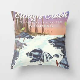 Slough Creek Yellowstone national park Throw Pillow