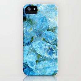 Aqua Blue Geode Crystal iPhone Case
