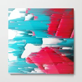 turquoise coral white abstract digital painting Metal Print