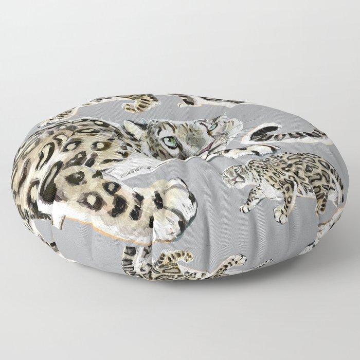 Snow leopard in grey Floor Pillow