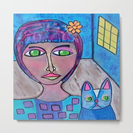 A Girl And Her Mysterious Cat Metal Print