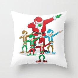 Santa Claus Christmas Dab Tee - Dabbing Santa & Elves Dabs Throw Pillow