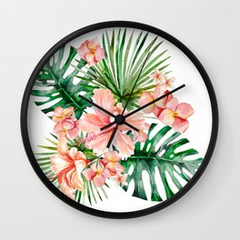 Tropical Jungle Hibiscus Flowers - Floral Wall Clock