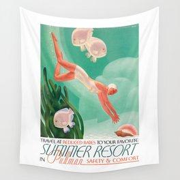 1935 Pullman Summer Resort Train Travel Poster Wall Tapestry