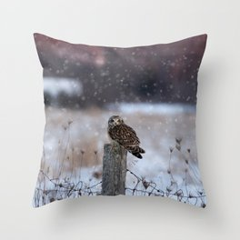Short eared owl in falling snow Throw Pillow