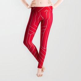 Modern minimal Line Art / Geometric Optical Illusion - Red Version  Leggings