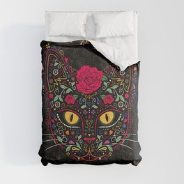 Day of the Dead Kitty Cat Sugar Skull Comforters