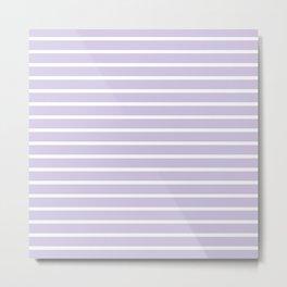 Lilac and White Horizontal Stripes Pattern Metal Print