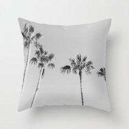 Black Palms // Monotone Gray Beach Photography Vintage Palm Tree Surfer Vibes Home Decor Throw Pillow