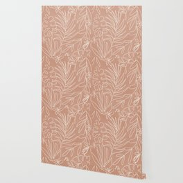 Engraved Tropical Line Wallpaper