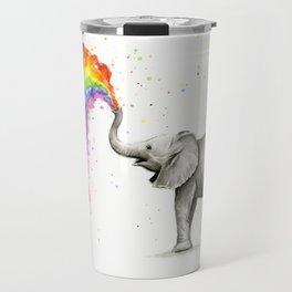 Baby Elephant Spraying Rainbow Travel Mug