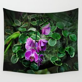 Bright Purple Orchids Wall Tapestry