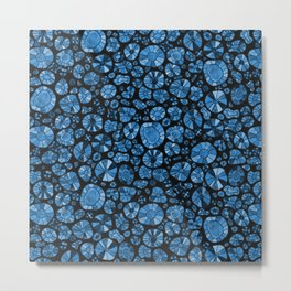 Barca Dots Pattern blue/black Metal Print