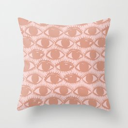 Inky Eyes // Dusty Pink Throw Pillow
