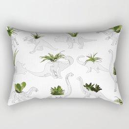 Dino and Cacti on White Rectangular Pillow