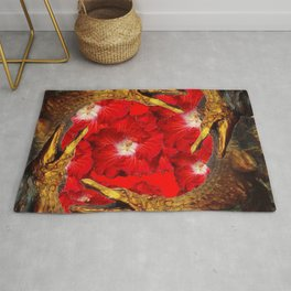 RED BLOODY HIBISCUS FLOWERS ALLIGATORS GOLD ART Rug
