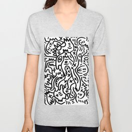 Graffiti Street Art Black and White Unisex V-Neck