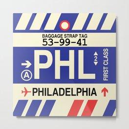 PHL Philadelphia • Airport Code and Vintage Baggage Tag Design Metal Print