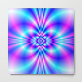 Butterfly Quatrefoil in Blue and Pink Metal Print