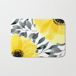 Big yellow watercolor flowers Bath Mat