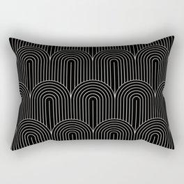 Art Deco Arch Pattern V Black & White Rectangular Pillow