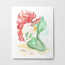 mermaid mother and daughter, watercolor painting, decor for girls room, mermaids art Metal Print