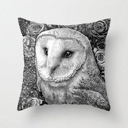 Barn Owl in Flowers Throw Pillow