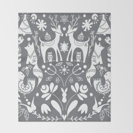 Holiday Folk Art in Gray and White Throw Blanket