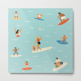 Surfing kids Metal Print