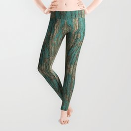 Weathered Rustic Wood - Weathered Wooden Plank - Beautiful knotty wood weathered turquoise paint Leggings