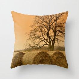Straw Bales Sunset Landscape Throw Pillow