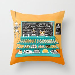 The Cats Halloween Bakery Throw Pillow