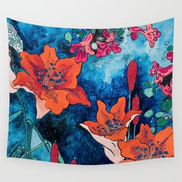 Blooming Night Garden: Twilight Wall Tapestry