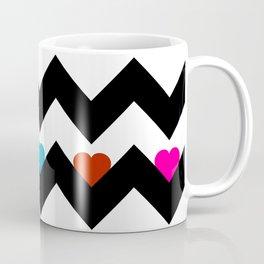 Heart & Chevron - Black/Multi Coffee Mug