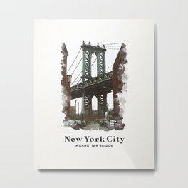 New York City Manhattan Bridge Metal Print