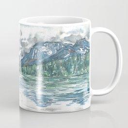 Kintla Lake Watercolor Painting of Glacier National Park Coffee Mug