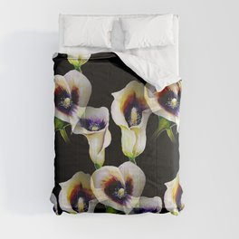 Arum Calla Lilies Pattern in Watercolor Comforters