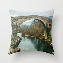 Asturias Roman Bridge Throw Pillow