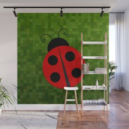 Lady Bug On Green Wall Mural