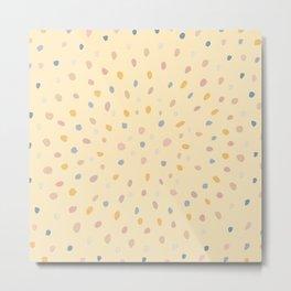 Dots Mandala Yellow & Blue palette _painting pattern Metal Print