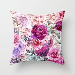 Roses and Peonies Collage Throw Pillow