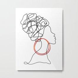 African Woman One line Drawing Metal Print