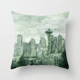 Seattle Skyline Watercolor Space Needle Emerald City 12th Man Art Throw Pillow