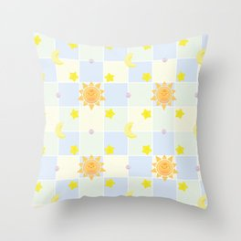 Cute Sun stars and Moon Throw Pillow