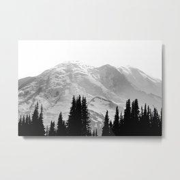 Mount Rainier Black and White Metal Print