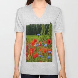 Poppies And Cornflowers Unisex V-Neck