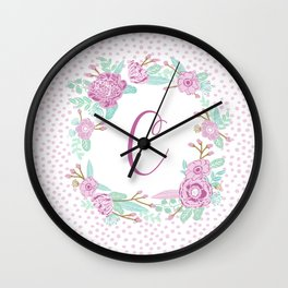 Monogram C - cute girls purple florals flower wreath, lilac florals, baby girl, baby blanket Wall Clock