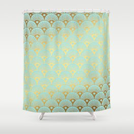 Art Deco Mermaid Scales Pattern on aqua turquoise with Gold foil effect Shower Curtain